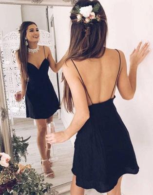 Black Short V-neck Chic Stylish Spaghetti Straps Backless Cocktail Dress_2