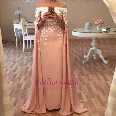 Long Designer Appliques Flowers Glamorous Floor-Length Prom Dress_1