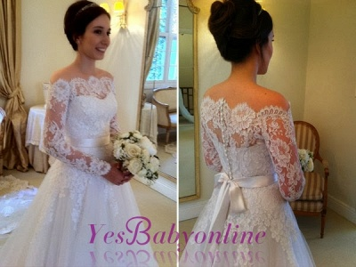 Sashes Sweep Train Off-the-shoulder Long Sleevess Glamorous A-line Wedding Dress_1