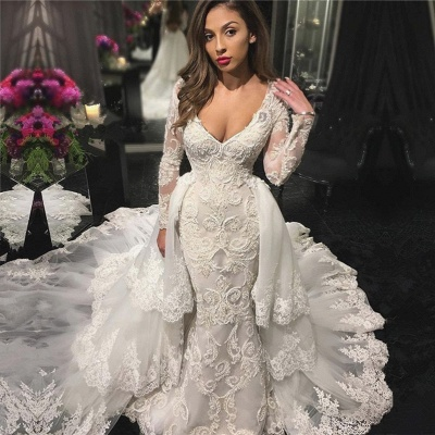 V-neck Beaded Sexy Mermaid Lace Appliques Wedding Dresses with Sleeves_3