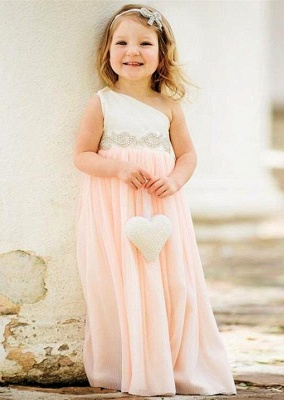 Exquisite One Shoulder Chiffon Flower Girl Dress with Pearls