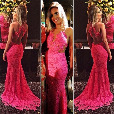 Sexy Mermaid Open-Back Sleeveless Sexy Lace Appliques Red Prom Dresses_3