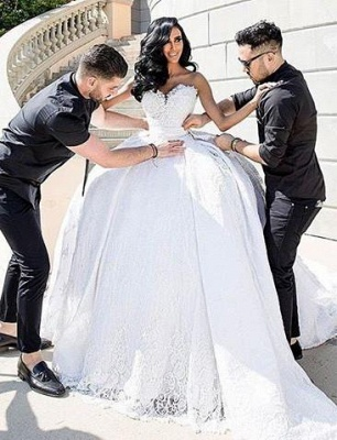 gown White ball dresses wedding with lace_2