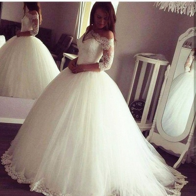 Glamorous Princess Ball Gown Wedding Dresses   Half Sleeves Tulle Bridal Gowns_3
