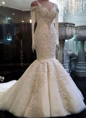 Charming Crystals Mermaid Wedding Dresses | Long Sleeves Appliques Bridal Gowns_1