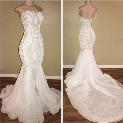 Sexy Sweetheart Fitted Backless Lace Fit And Flare Mermaid Wedding Dresses_3