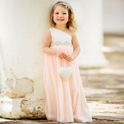 Exquisite One Shoulder Chiffon Flower Girl Dress with Pearls_2