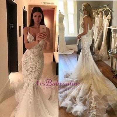 Tulle Charming Spaghetti-Strap Lace Button Zipper Mermaid Wedding Dress_1
