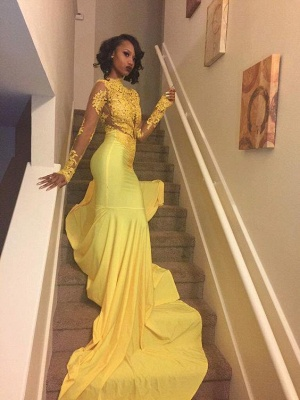 Yellow Long-Sleeve Lace Mermaid High-Neck Beautiful Appliques Prom Dress_1