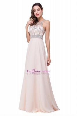 A-Line New Scoop Floor-Length Crystal Sleeveless Prom Dress_1