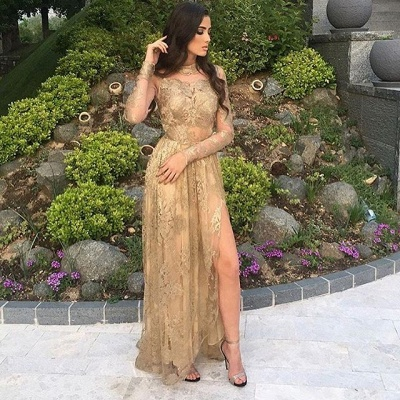 Appliques Long-Sleeves High-Neck Tulle Gold Side-Slit Sexy Prom Dresses_4