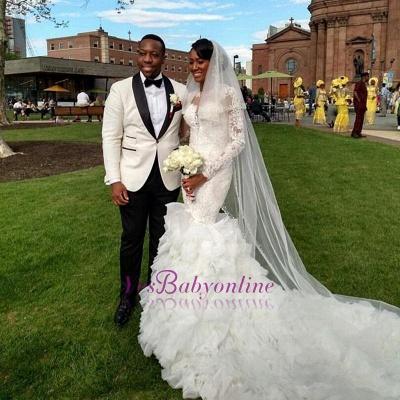 Long-Train Exquisite Lace-Appliques Ruffles Mermaid Wedding Dress_1