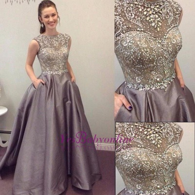 Luxury Crystals Prom Dresses with Pockets A-line Puffy Evening Gowns_1