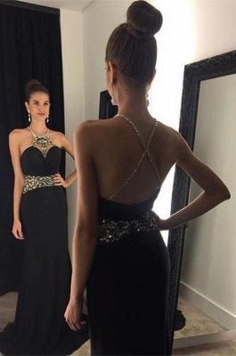 Halter Neck Black Prom Dresses Crystals Crisscross Back Long Evening Gowns_2