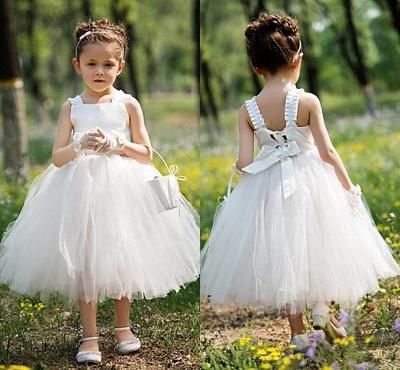 Tea Length Ball Gown Baby Flower Girl Dresses   Sweet Tulle Sleeveless Children Gowns_3