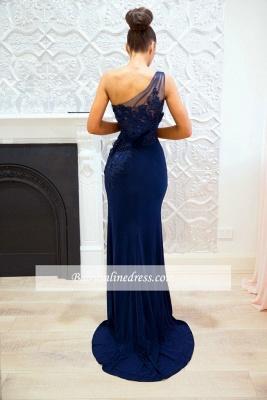 Blue One-shoulder Sheath-Column Sexy Lace Split-front Evening Dress_2