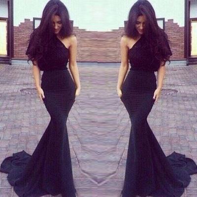 New One-Shoulder Mermaid Elegant Black Prom Dresses_3