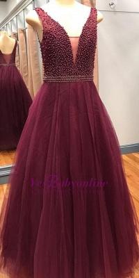Beaded V-Neck Pearls A-Line Luxury Sleeveless Prom Dresses_1