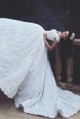 Luxurious Appliques Lace Princess Princess Off-The-Shoulder Wedding Dress_3