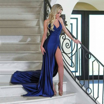 Sexy V-Neck Mermaid Evening Dresses | Sleeveless Side Slit Prom Dresses_4