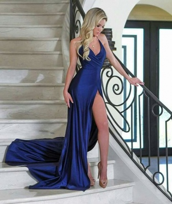 Sexy V-Neck Mermaid Evening Dresses | Sleeveless Side Slit Prom Dresses_3