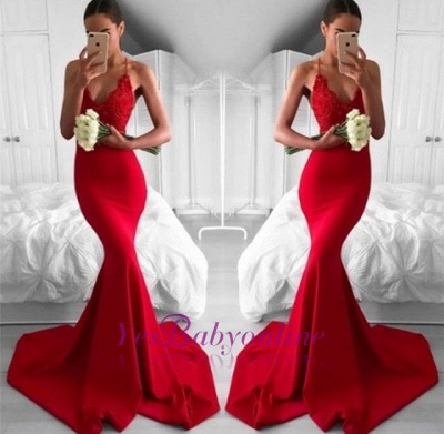 Sexy Mermaid Long Lace Red Lace V-Neck Prom Dress_1