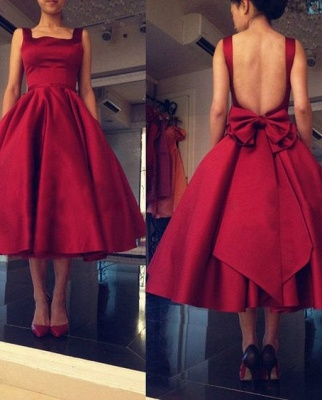 Backless Short Puffy Tea-Length Square-Neck Bowknot Red Prom Dresses_3