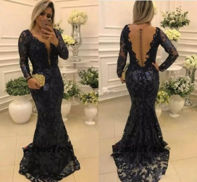 Elegant Long Sleeves Long Form-Fitting Lace Mother of Bride Dresses_3