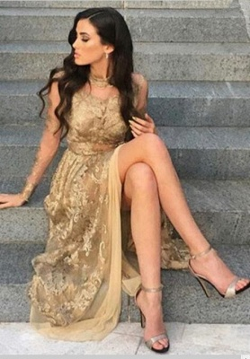 Appliques Long-Sleeves High-Neck Tulle Gold Side-Slit Sexy Prom Dresses_3