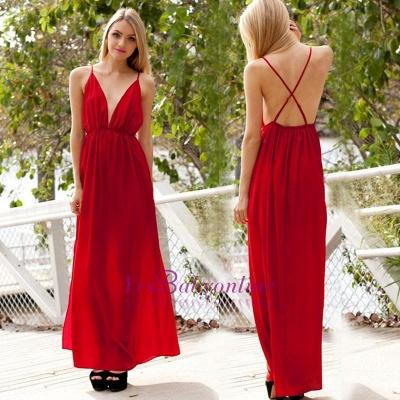 Spaghetti-Strap Sexy Backless A-line V-neck Sleeveless Evening Dress_1