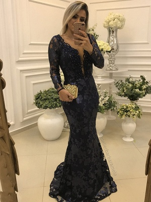 Elegant Long Sleeves Long Form-Fitting Lace Mother of Bride Dresses_1