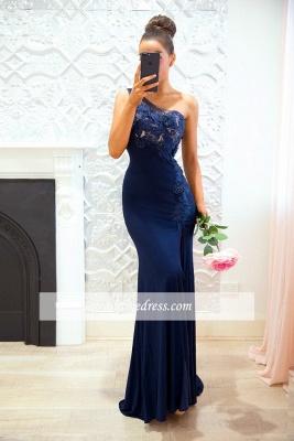 Blue One-shoulder Sheath-Column Sexy Lace Split-front Evening Dress_3