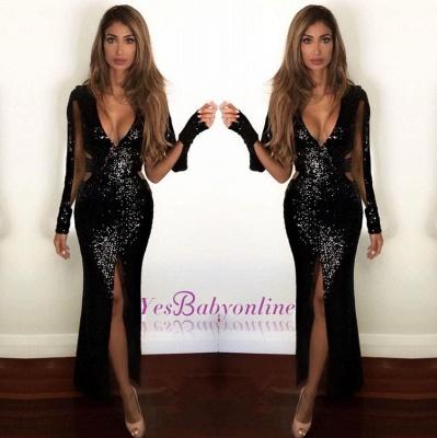 Sexy Front Split Sequins Black Long Prom Dresses_1