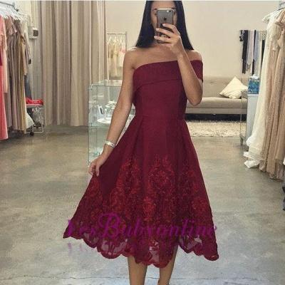 Burgundy Asymmetric Off-the-Shoulder Tea-Length Prom Dresses_1