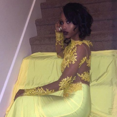 Yellow Long-Sleeve Lace Mermaid High-Neck Beautiful Appliques Prom Dress_2