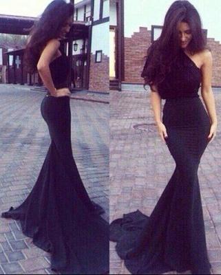 New One-Shoulder Mermaid Elegant Black Prom Dresses_2