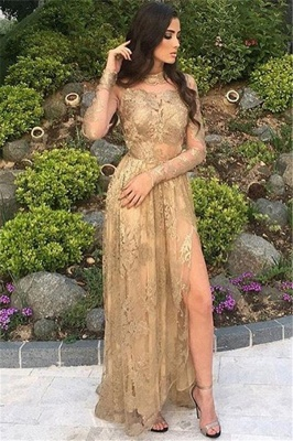 Appliques Long-Sleeves High-Neck Tulle Gold Side-Slit Sexy Prom Dresses_2