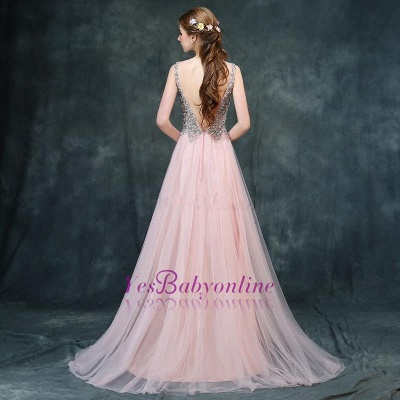 Luxury Backless Pink Long A-line Beaded V-Neck Prom Dresses_1