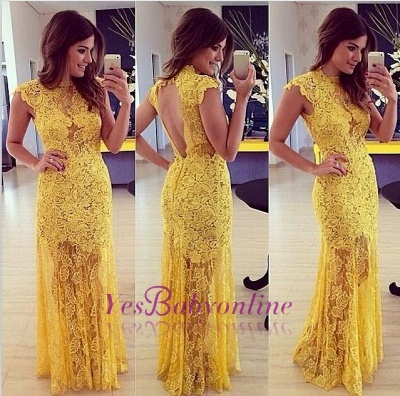 Modern Long High-Neck A-line Sleeveless Lace Yellow Prom Dress_1