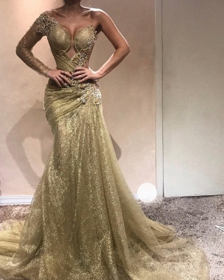 Elegant One-Shoulder Appliques Prom Dresses | Ruched Mermaid Gold Evening Gowns  BC0750_3