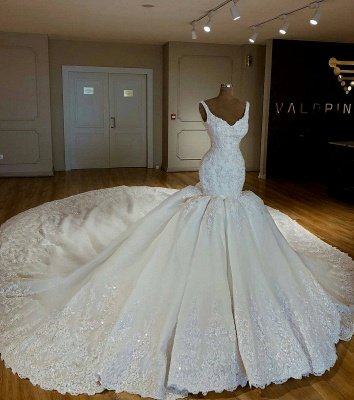 Stunning Mermaid Beading Lace Straps Appliques Wedding Dresses_1