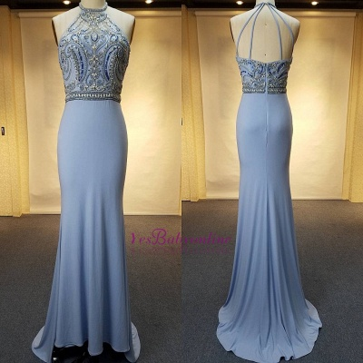Crystal Sweep-Train Open-Back Blue Halter Sheath Evenig Dresses_1
