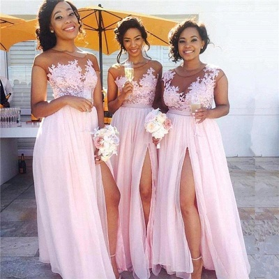 Exquisite A-Line Pink Chiffon Bridesmaid Dresses   Scoop Cap Sleeves Side Slit Long Wedding Party Dresses_3