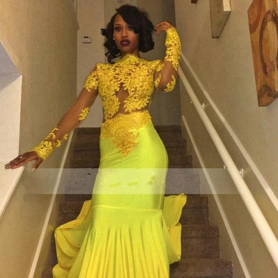 Yellow Long-Sleeve Lace Mermaid High-Neck Beautiful Appliques Prom Dress_3