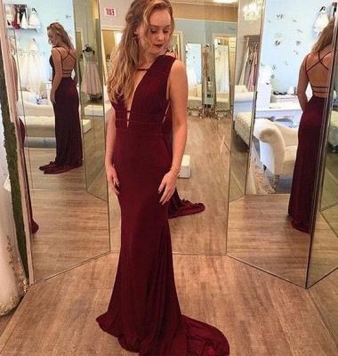 Mermaid Deep-V-Neck Burgundy Sleeveless Crisscross-Straps Prom Dresses_3