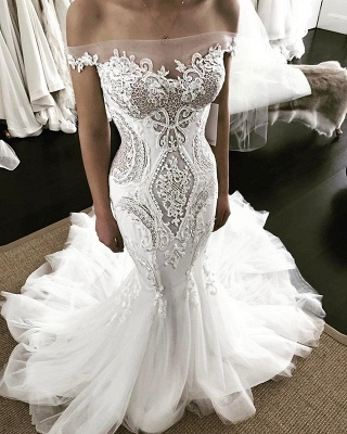Sexy Bateau Off The Shoulder Applique Fitted Mermaid Wedding Dresses_2
