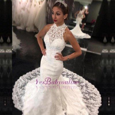 Newest Sweep-Train Mermaid Sleeveless High-Neck Lace Wedding Dress_1