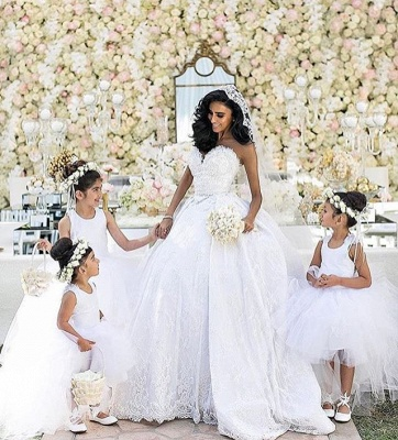 gown White ball dresses wedding with lace_4
