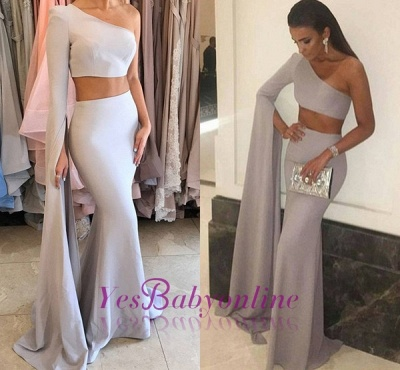 Mermaid Stunning Two-Pieces One-Shoulder Floor-Length Prom Dress_1