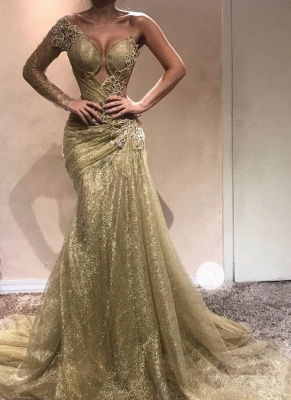 Elegant One-Shoulder Appliques Prom Dresses | Ruched Mermaid Gold Evening Gowns  BC0750_1